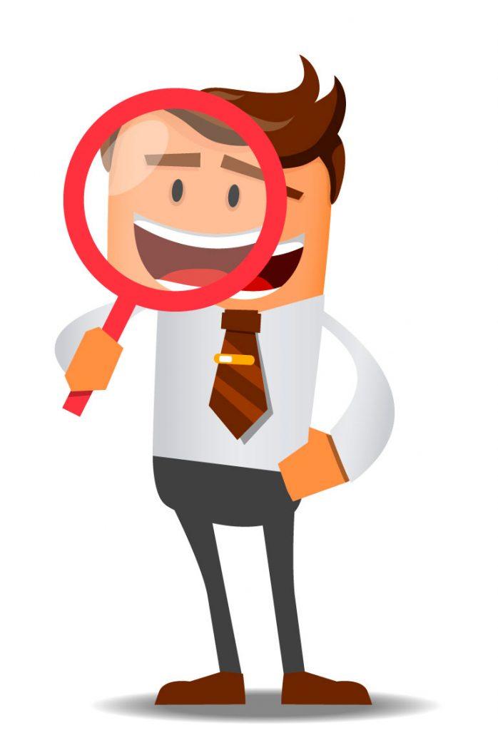Ilustração de um gestor fazendo uma avaliação dos problemas da produção têxtil.