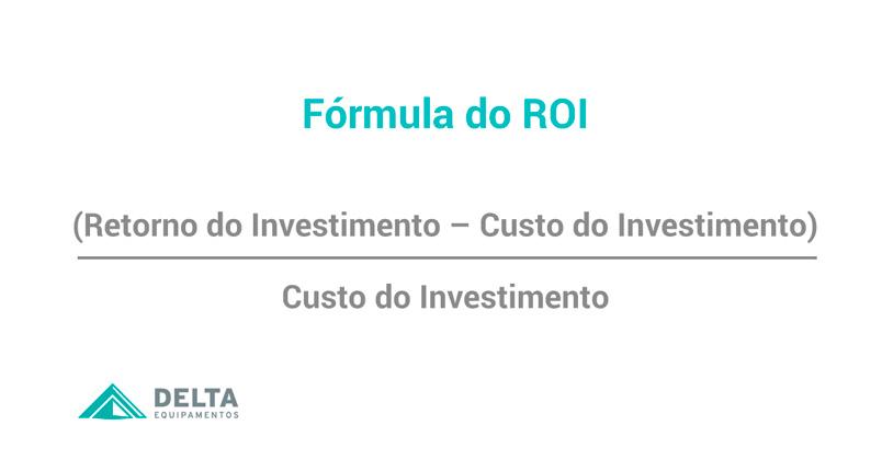 Representação gráfica da fórmula para encontrar o retorno sobre investimento ou ROI. Em relação a aplicação da manufatura avançada.